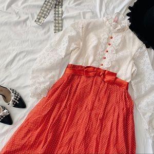Vtg 60s Red White Polka Dot Ruffle Lace Maxi Dress
